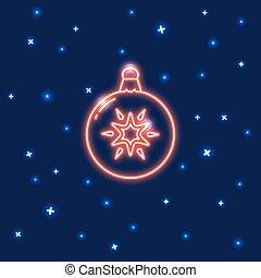 estilo, néon, natal, linha, bauble, ícone