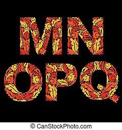 estilo, n, eco, m, ornament., typeset, outono, este prego, vetorial, fonte, inflamável, floral, q.