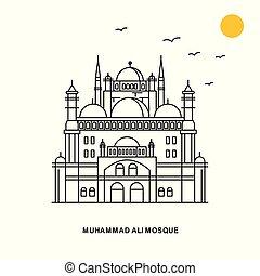 estilo, natural, ali, viaje, mezquita, ilustración,...