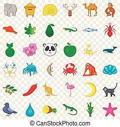 estilo, naturaleza, conjunto, iconos, salvaje, caricatura