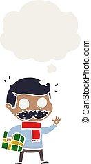 estilo, navidad, pensamiento, retro, bigote, burbuja,...