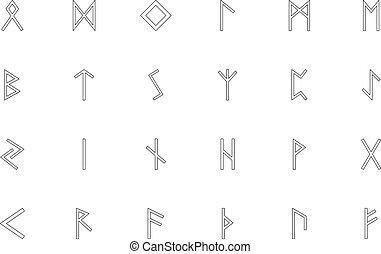 estilo, negro, contorno, color, conjunto, escandinavo, runes