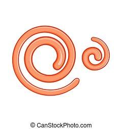 estilo, nematodo, parasitario, gusanos, icono, caricatura