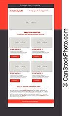 estilo, newsletter, plantilla, empresa / negocio, rojo