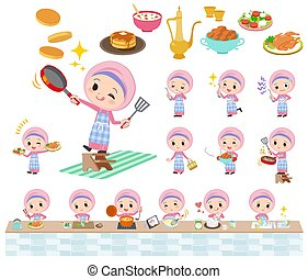 estilo, niña, hijab, árabe, cocina
