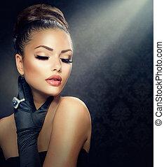 estilo, niña, moda, belleza, portrait., llevando, guantes, ...