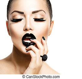 estilo, niña, moda, negro, moda, moderno, manicura, caviar