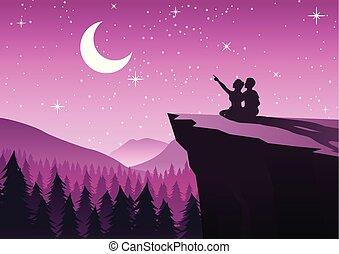 estilo, noche, pareja, luna, sentado, señalar, cierre, ...