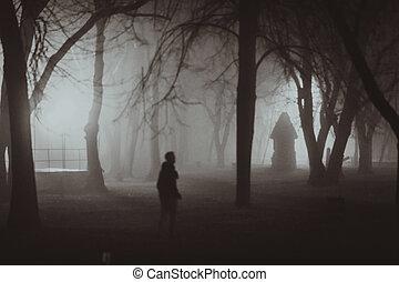 estilo, noir, horror, escena, otoño, iluminación, fog.,...