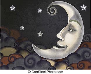 estilo, nuvens, lua, ilustração, retro, estrelas, metade