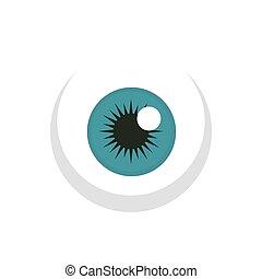 estilo, ojo, pelota, plano, icono