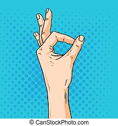 estilo, ok, shoving, gesture., ilustração, mão, vetorial, arte pnf, cômico