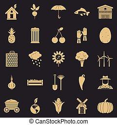 estilo, orgânica, ícones, alimento, jogo, simples