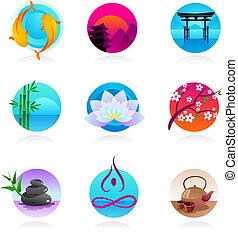 estilo, oriental, cobrança, ícones