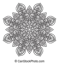 estilo, oriental, elemento, mão, ornate, mandala, desenho