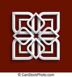 estilo, -, ornamento, variación, 2, blanco, árabe, 3d