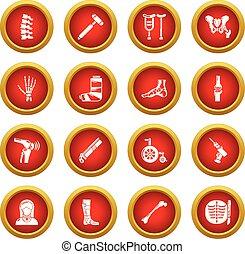 estilo, orthopedist, iconos, conjunto, simple, herramientas, hueso