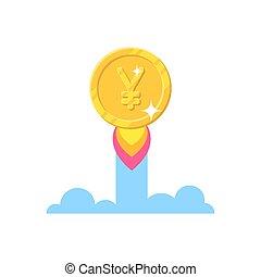 estilo, ou, ouro, chinês, iene, japoneses, isolado, aumento, yuan, caricatura