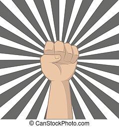 estilo, our., poder, mostrando, cima, ilustração, mão, arte pnf, retro