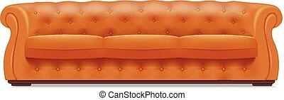 estilo, ouro, sofá couro, realístico, ícone