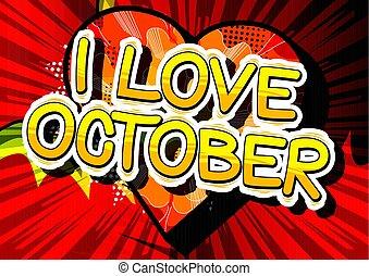 estilo, outubro, amor, word., -, livro, cômico
