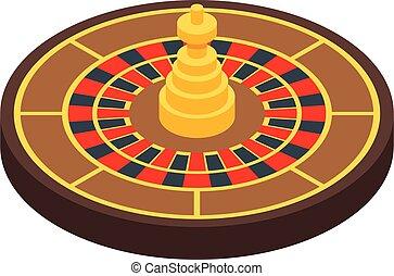 estilo, póker, icono, ruleta, isométrico