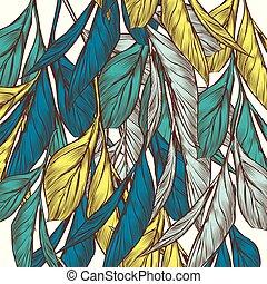 estilo, padrão, mão, vetorial, vindima, floral, desenhado, leaves.eps