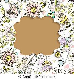 estilo, padrão, quadro, doodle, floral, cartão