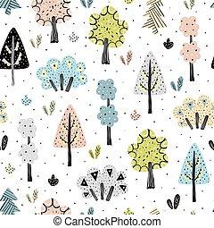 estilo, padrão, seamless, escandinavo, espantoso, floresta