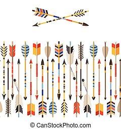 estilo, padrão, setas, seamless, indianas, étnico, nativo