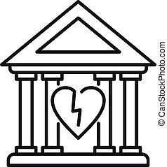 estilo, palacio de justicia, contorno, divorcio, icono