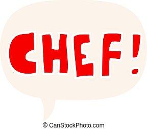 estilo, palavra, cozinheiro, fala, retro, bolha, caricatura