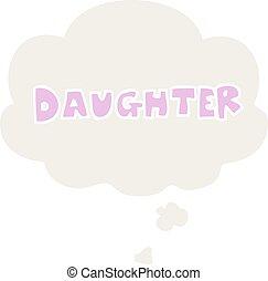 estilo, palavra, pensamento, retro, filha, bolha, caricatura