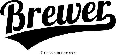 estilo, palavra, retro, cervejeiro