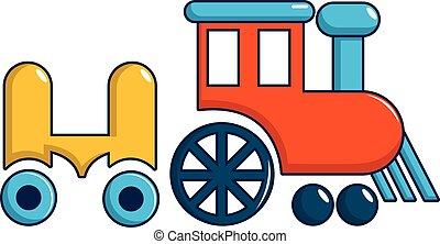 estilo, passeio, caricatura, trem, ícone, crianças
