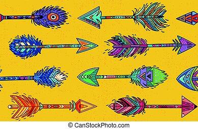 estilo, patrón, flechas, seamless, indio americano, étnico,...