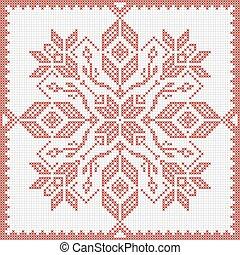 estilo, patrón, puntada, escandinavo, cruz