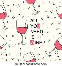 estilo, patrón, seamless, glasses., mano, vector, dibujado, vino