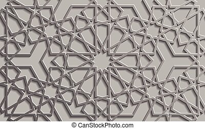 estilo, patrón, seamless, islámico, plano de fondo, 3d