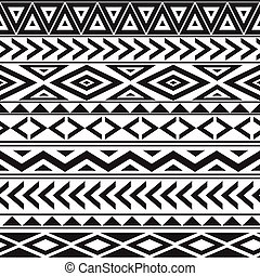 estilo, patrón, seamless, negro, étnico, blanco, geométrico
