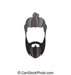 estilo, pelo largo, bollo, facial, hipster, macho, barba