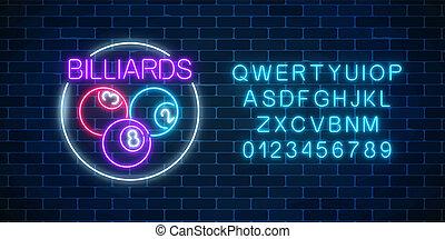 estilo, pelotas, alphabet., neón, marco, signboard, billiards., bar, encendido, billiard, círculo