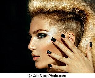 estilo, penteado, menina, moda, portrait., modelo, balancim
