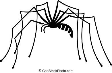 estilo, perna, simples, aranha, longo, ícone
