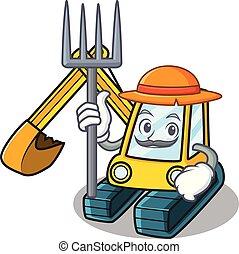 estilo, personagem, caricatura, escavador, agricultor