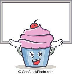 estilo, personagem, cima, cupcake, tábua, caricatura
