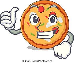estilo, personagem, cima, polegares, caricatura, pizza