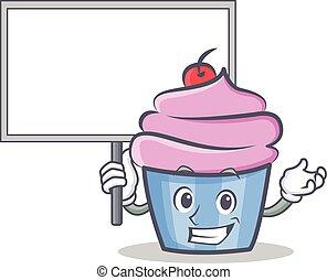 estilo, personagem, cupcake, trazer, tábua, caricatura