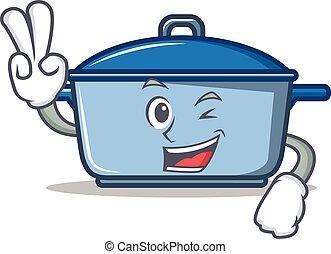 estilo, personagem, dois, dedo, caricatura, cozinha