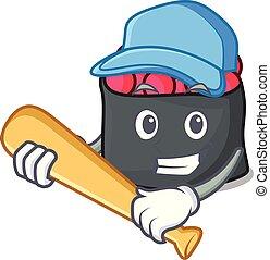estilo, personagem, tocando, ikura, basebol, caricatura